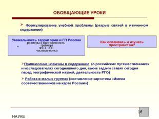 ОБОБЩАЮЩИЕ УРОКИ Формулирование учебной проблемы (разрыв связей в изученном