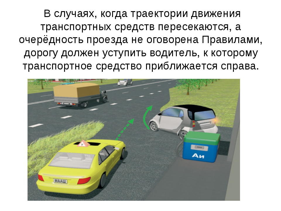 В случаях, когда траектории движения транспортных средств пересекаются, а оч...