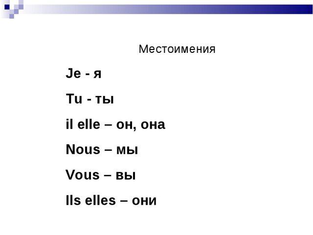 Местоимения Je - я Tu - ты il elle – он, она Nous – мы Vous – вы Ils elles –...