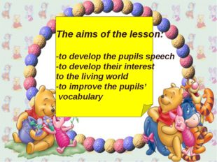 The aims of the lesson: -to develop the pupils speech -to develop their inte
