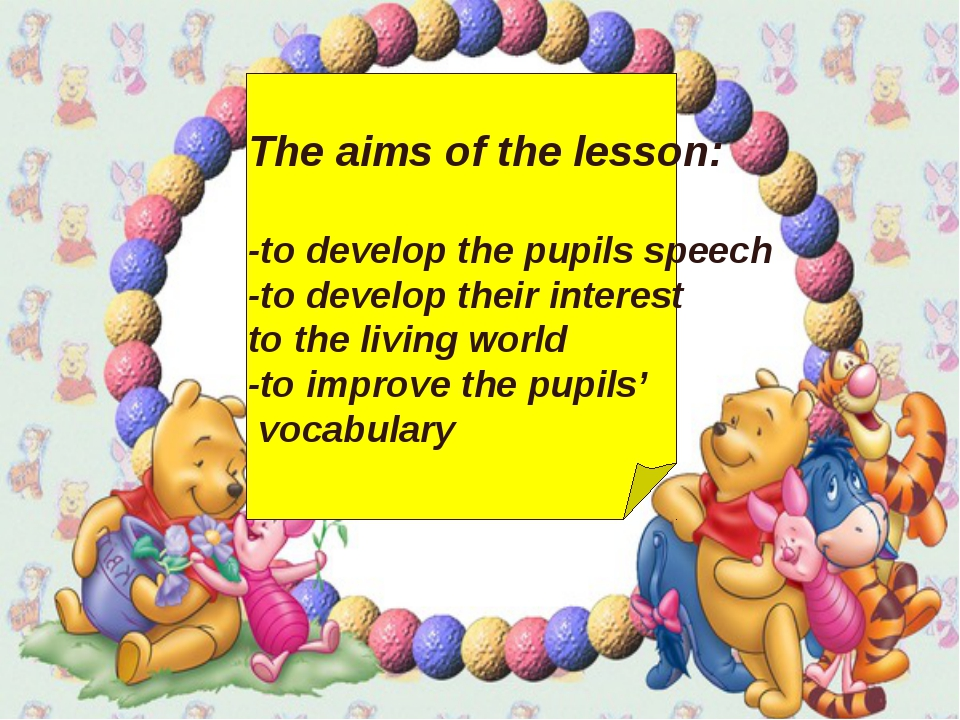 The aims of the lesson: -to develop the pupils speech -to develop their inte...