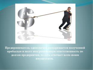 Предприниматель единолично распоряжается полученной прибылью и несет неогран