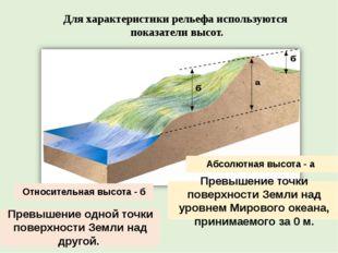 Для характеристики рельефа используются показатели высот. Относительная высот