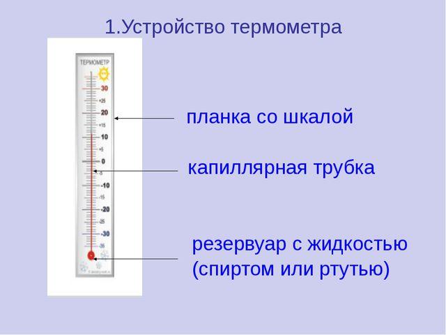 1.Устройство термометра планка со шкалой …… капиллярная трубка резервуар с жи...