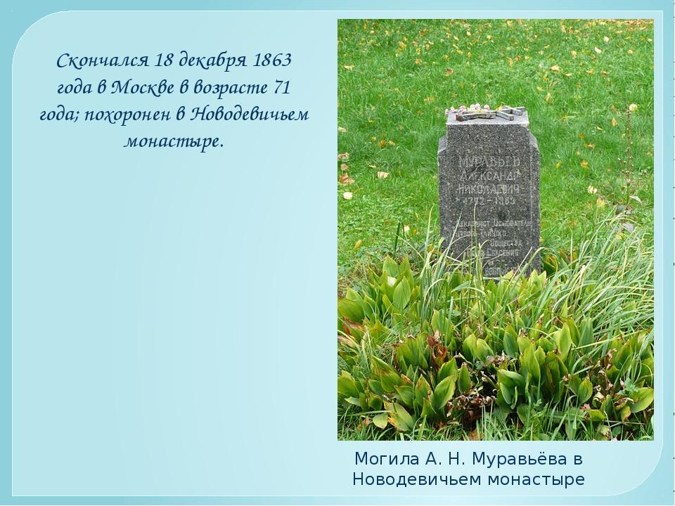 Скончался 18 декабря 1863 года в Москве в возрасте 71 года; похоронен в Новод...
