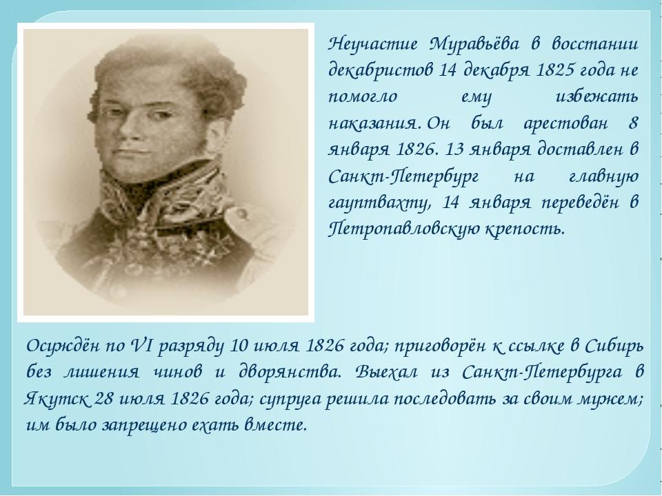 Неучастие Муравьёва в восстании декабристов 14 декабря 1825 года не помогло е...
