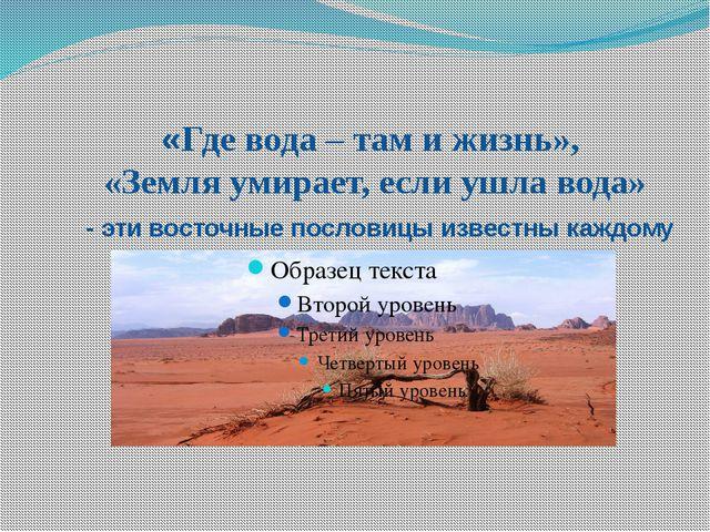«Где вода – там и жизнь», «Земля умирает, если ушла вода» - эти восточные по...