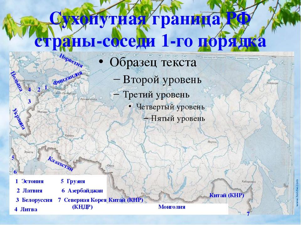 Сухопутная граница РФ страны-соседи 1-го порядка Норвегия 1 1 Эстония Финлянд...