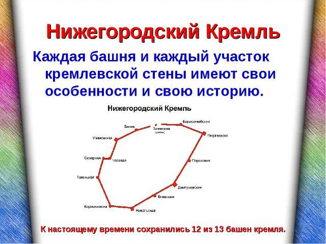 Нижегородский Кремль Каждая башня и каждый участок кремлевской стены имеют св...