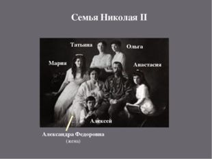 Семья Николая II Александра Федоровна (жена) Анастасия Мария Татьяна Ольга Ал