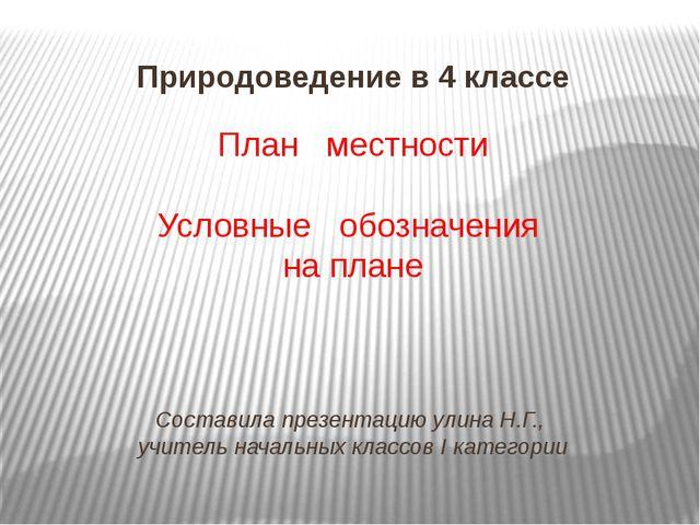 План местности Условные обозначения на плане Составила презентацию улина Н.Г....