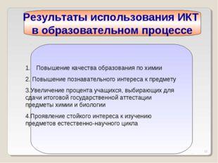 * Результаты использования ИКТ в образовательном процессе Повышение качества