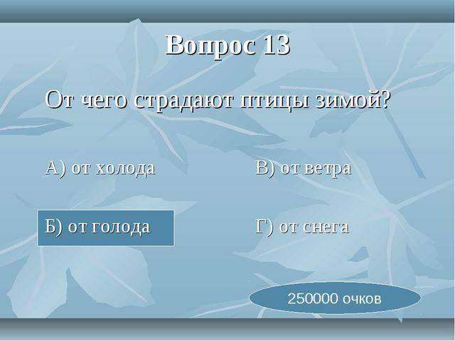 Вопрос 13 От чего страдают птицы зимой? А) от холодаВ) от ветра Б) от г...