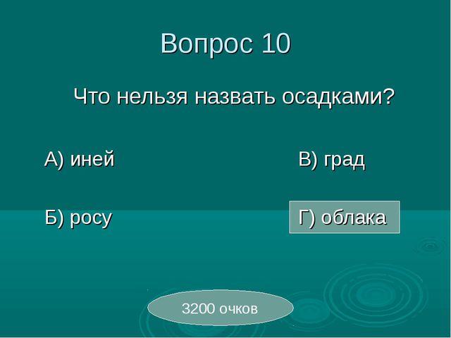 Вопрос 10 Что нельзя назвать осадками? А) инейВ) град Б) росуГ)...