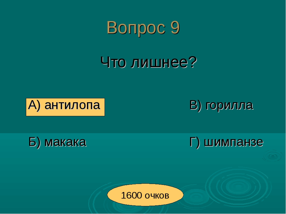 Вопрос 9 Что лишнее? А) антилопаВ) горилла Б) макакаГ) шимпанзе 16...