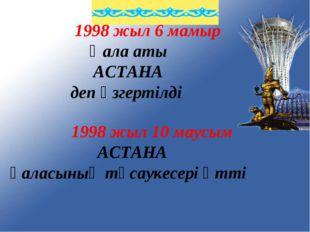 1998 жыл 6 мамыр Қала аты АСТАНА деп өзгертілді 1998 жыл 10 маусым АСТАНА қа
