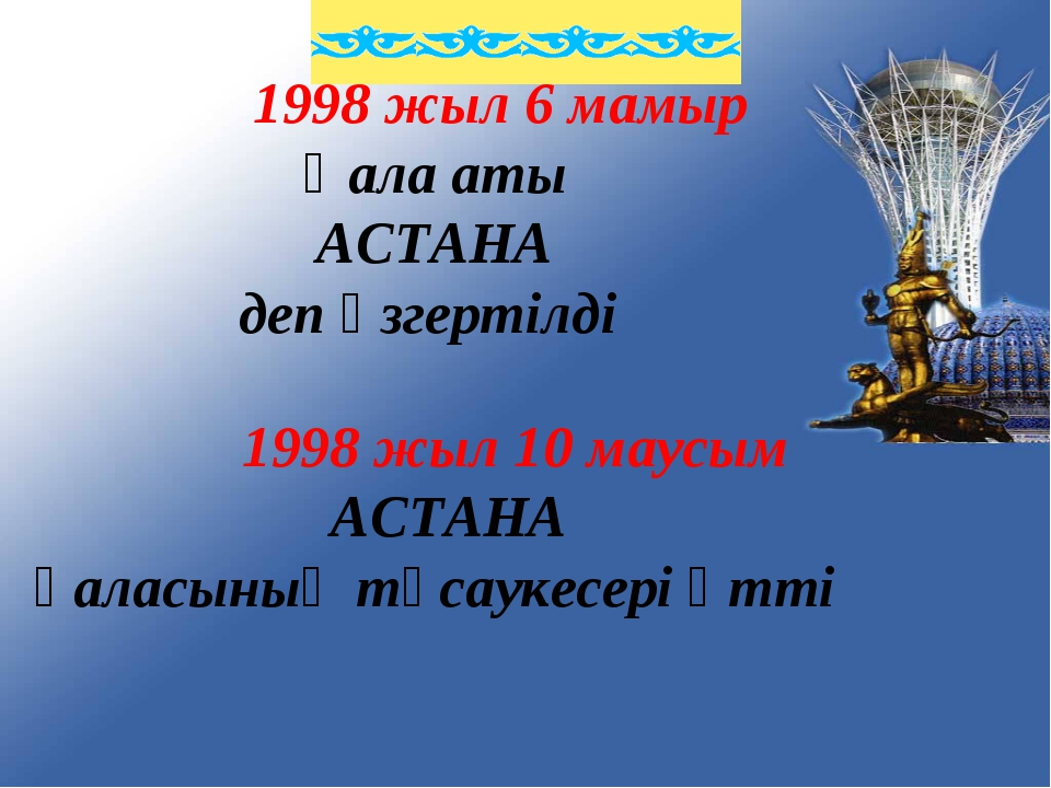 1998 жыл 6 мамыр Қала аты АСТАНА деп өзгертілді 1998 жыл 10 маусым АСТАНА қа...