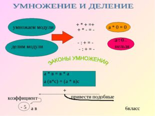 умножаем модули делим модули + * + =+ + * - = - - : + = - - : + = - а * 0 = 0