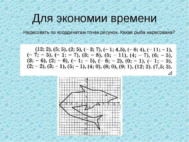 Для экономии времени Нарисовать по координатам точек рисунок. Какая рыба нари...
