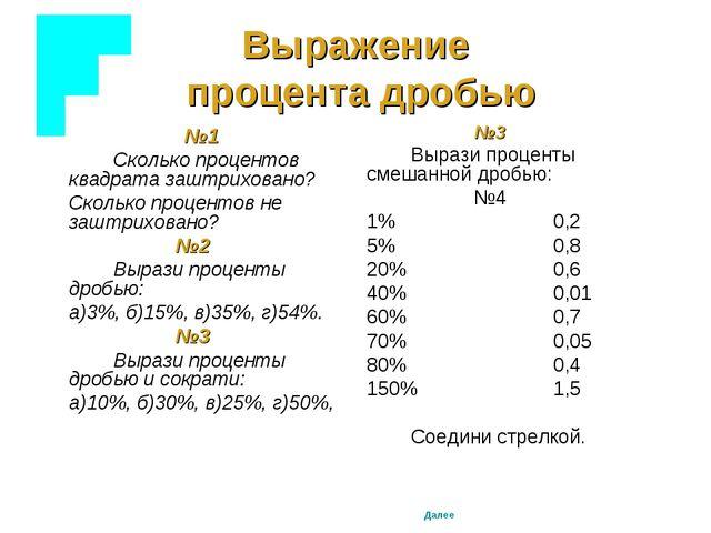 Выражение процента дробью №1 Сколько процентов квадрата заштриховано? С...
