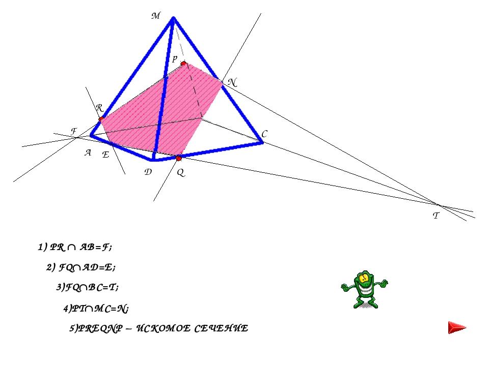 F T 1) PR  AB=F; 2) FQAD=E; 3)FQBC=T; 4)PTMC=N; 5)PREQNP – ИСКОМОЕ СЕЧЕНИ...
