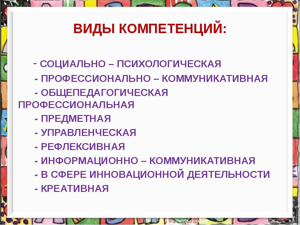 ВИДЫ КОМПЕТЕНЦИЙ: - СОЦИАЛЬНО – ПСИХОЛОГИЧЕСКАЯ - ПРОФЕССИОНАЛЬНО – КОММУНИКА...