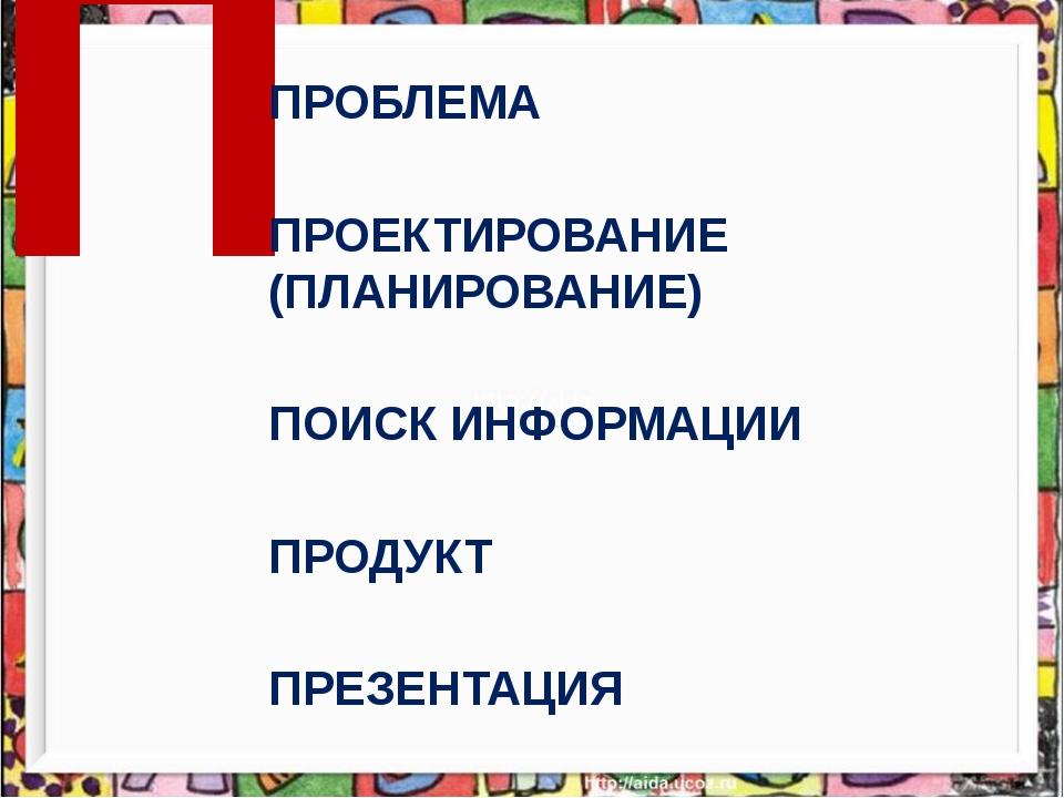 П ПРОБЛЕМА ПРОЕКТИРОВАНИЕ (ПЛАНИРОВАНИЕ) ПОИСК ИНФОРМАЦИИ ПРОДУКТ ПРЕЗЕНТАЦИЯ