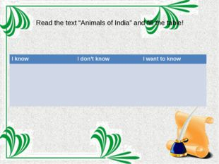 """Read the text """"Animals of India"""" and fill the table! I know I don't know I wa"""