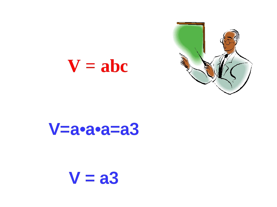 V = abc V=а•а•а=а3 V = a3