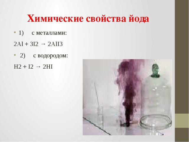 Химические свойства йода 1)cметаллами: 2Al+ 3I2→2AlI3 2)cводо...