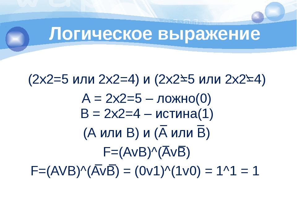 Логическое выражение 1 2 3 4 (2х2=5 или 2х2=4) и (2х2=5 или 2х2=4) А = 2х2=5...