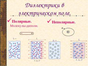 Диэлектрики в электрическом поле. Полярные. Молекулы-диполи. Неполярные.