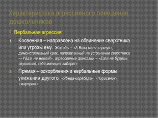Характеристика агрессивного поведения дошкольников Вербальная агрессия: Косве