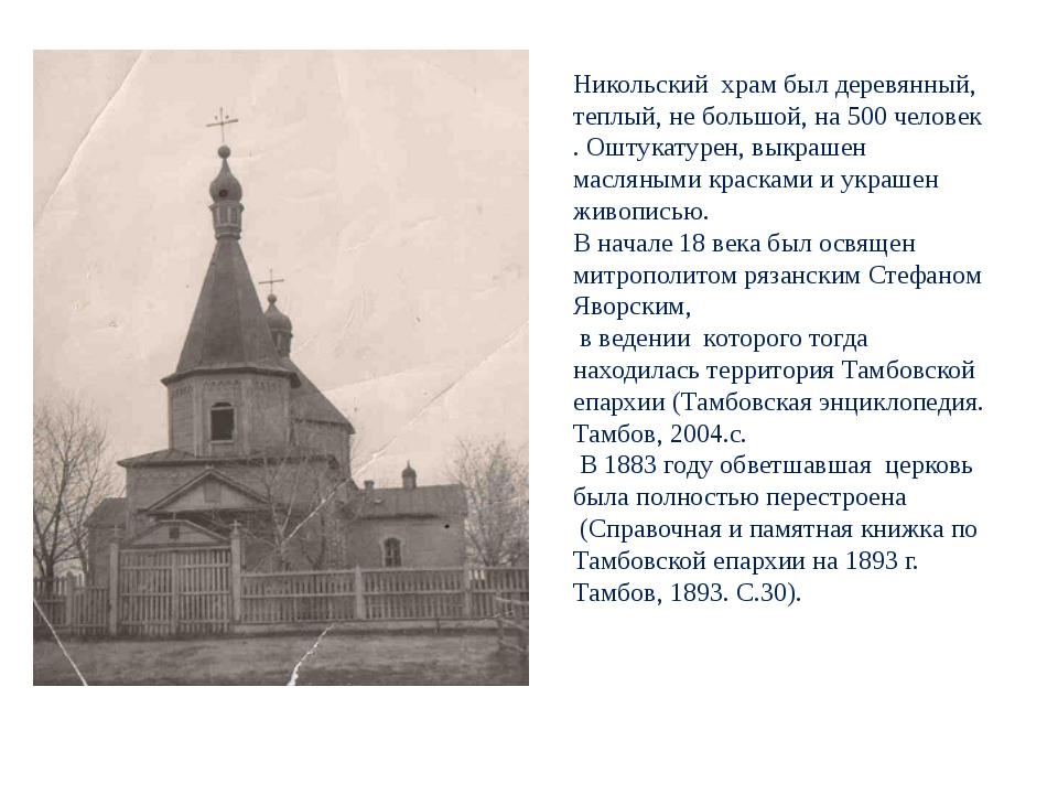 Никольский храм был деревянный, теплый, не большой, на 500 человек . Оштукат...