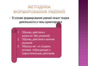 В основе формирования умений лежит теория деятельности и типы ориентировки Об