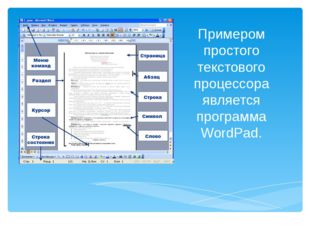 Примером простого текстового процессора является программа WordPad.