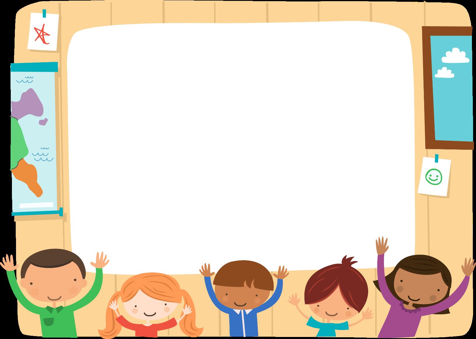 Фоновый мультиплекационный рисунок, на котором изображены счастливые дети в школьном классе.