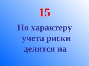 15 По характеру учета риски делятся на