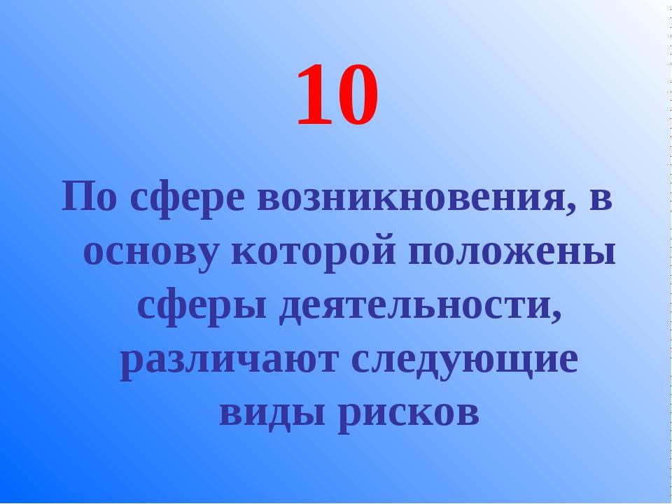 10 По сфере возникновения, в основу которой положены сферы деятельности, разл...