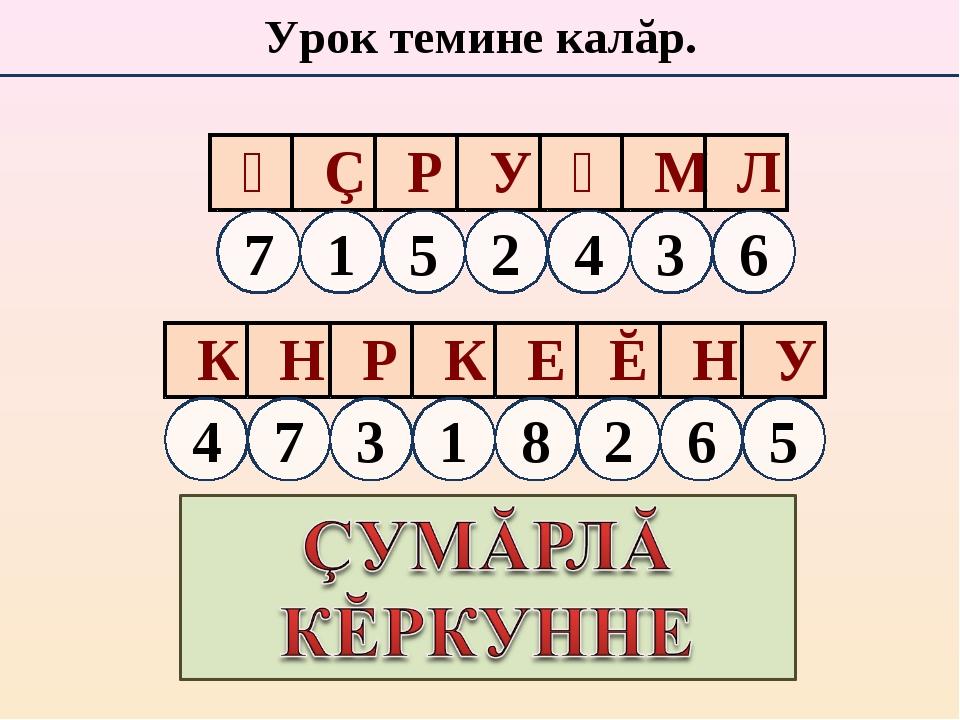 Урок темине калăр. Ᾰ Ç Р У Ᾰ М Л К Н Р К Е Ĕ Н У 1 5 2 4 3 6 7 7 3 1 8 2 6 4 5