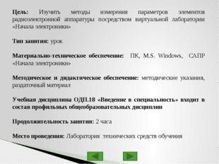 Изучение основных компонентов виртуальной лаборатории «Начала электроники» Бе