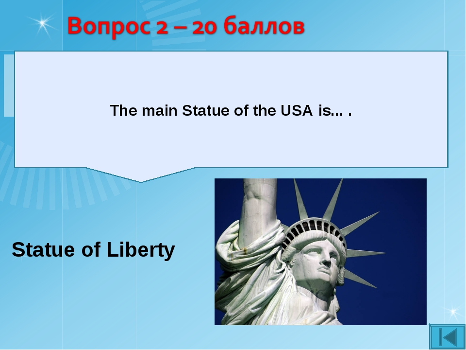 Statue of Liberty The main Statue of the USA is... .