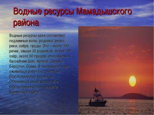 Водные ресурсы Мамадышского района Водные ресурсы края составляют подземные в