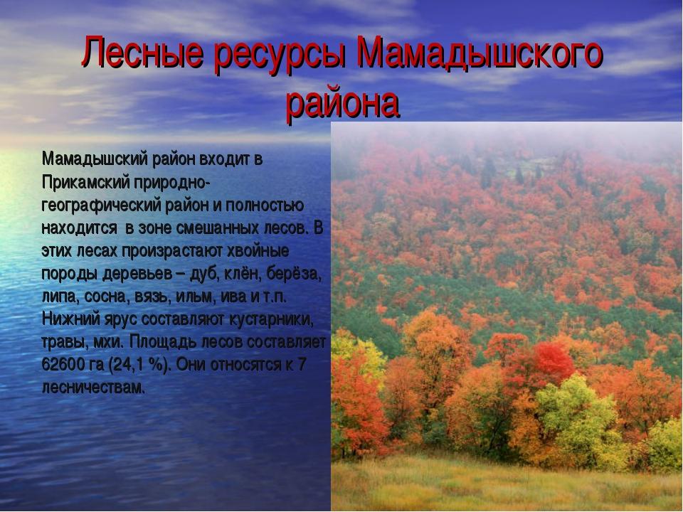 Лесные ресурсы Мамадышского района Мамадышский район входит в Прикамский прир...
