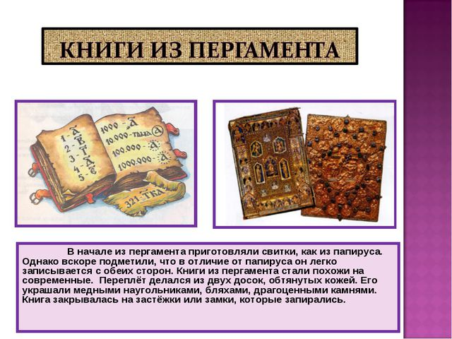 В начале из пергамента приготовляли свитки, как из папируса. Однако вскоре п...