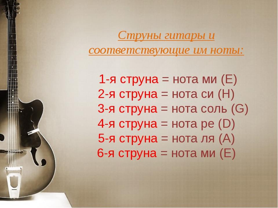 Струны гитары и соответствующие имноты: 1-я струна = нота ми (E) 2-я струна...