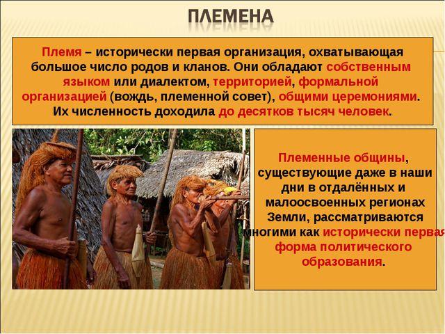 Племя – исторически первая организация, охватывающая большое число родов и кл...