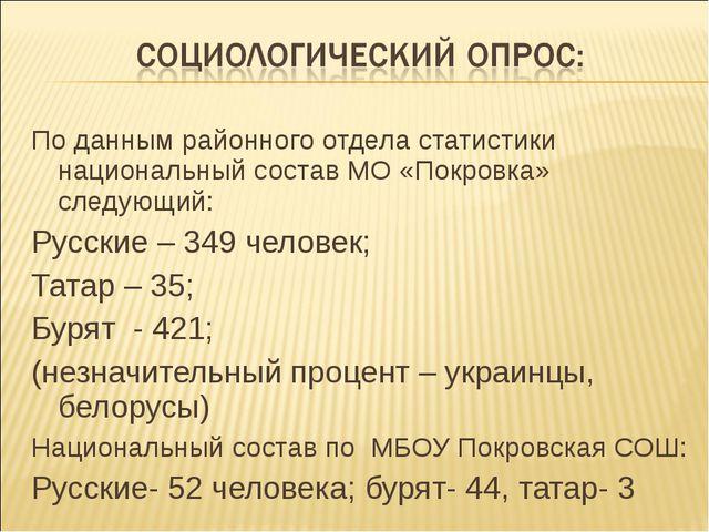 По данным районного отдела статистики национальный состав МО «Покровка» следу...