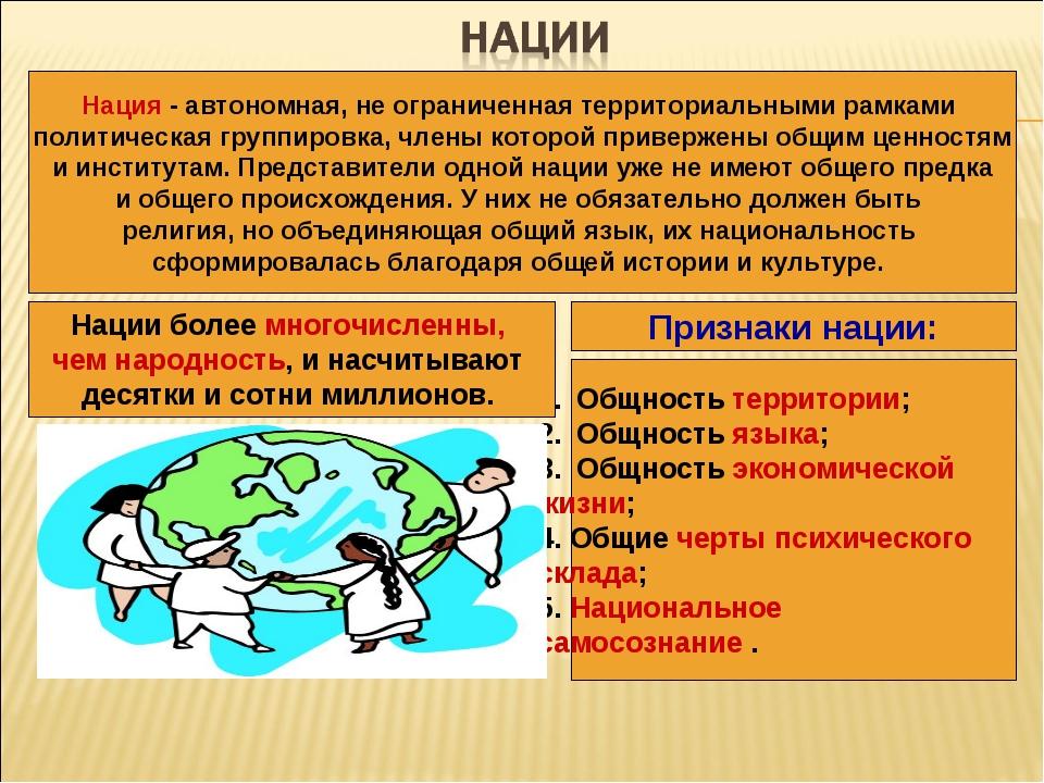 Нация - автономная, не ограниченная территориальными рамками политическая гру...