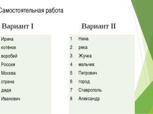 Самостоятельная работа Вариант I Вариант II 1 Ирина         2 котёнок
